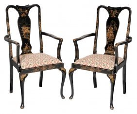 Pair Queen Anne Style Chinoiserie-