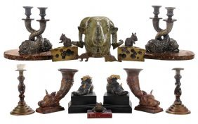 Fourteen Sculptural Metal And Wood