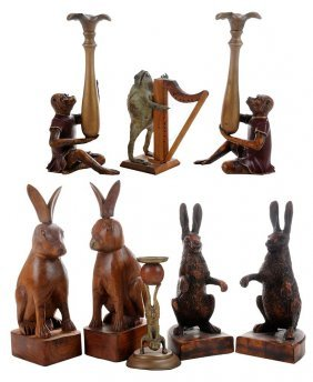 Eight Animal-form Figures And Candle