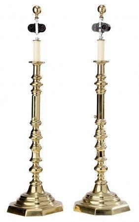 Monumental Brass Push-up Candlesticks