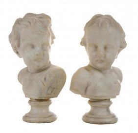 Two Carved Marble Busts Of Young Boy