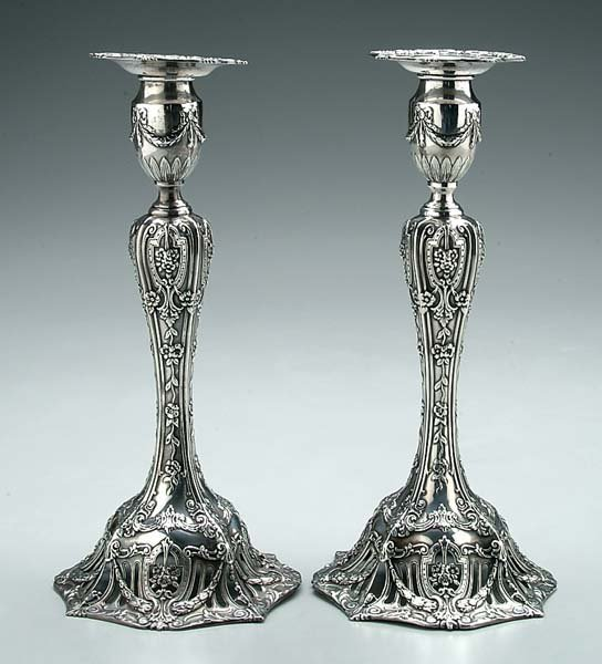 10: Pair sterling candlesticks: