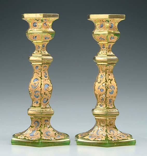 15: Pair green glass candlesticks:
