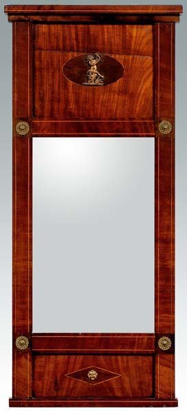 17: Inlaid mahogany Regency hall mirror,