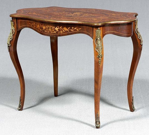 22: Ormolu-mounted inlaid table,