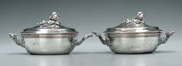 23: Pair fuse-plated lidded entrée dishes:
