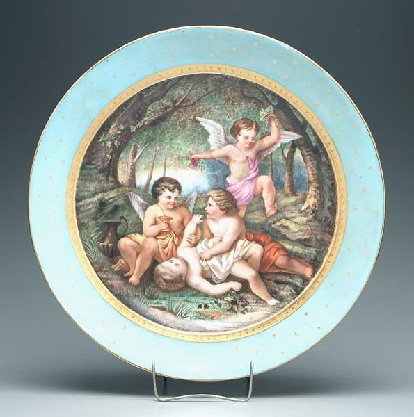 24: 19th century hand-painted charger,