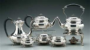 644: Six-piece English silver tea service: