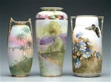 665 Three handpainted Nippon vases