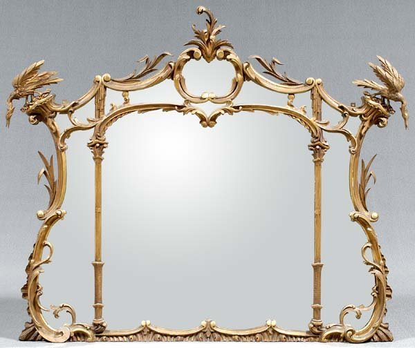 756: Chippendale-style overmantle mirror,