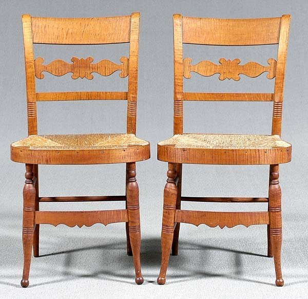 758: Pair tiger maple rush-seat chairs: