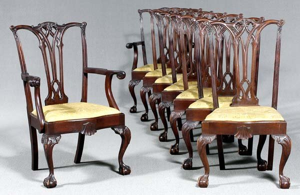 861: Set of eight Chippendale-style chairs: