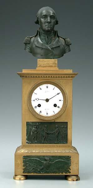 924: French bronze Washington mantle clock,