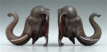1144: Pair bronze elephant-head bookends: