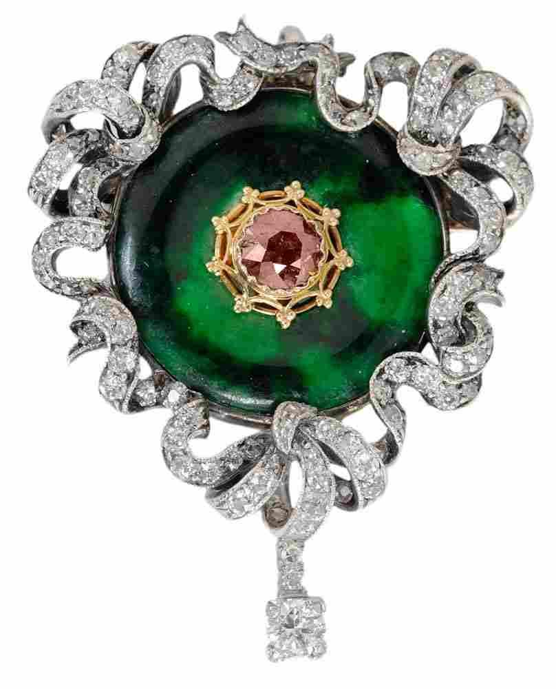 Fine Antique Jade* and Diamond Brooch
