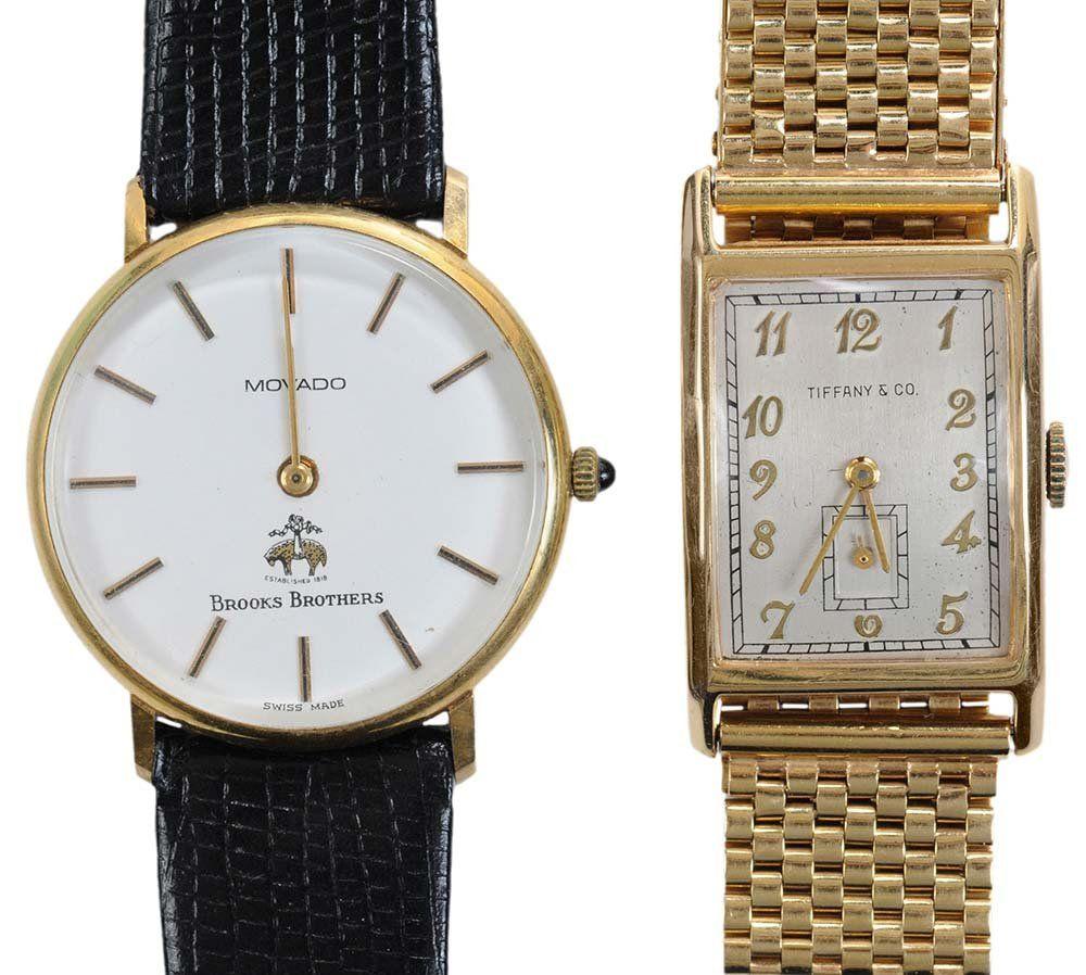 Two 14 Karat Gold Wristwatches, Gold