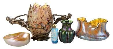 Five Iridescent Art Glass Articles