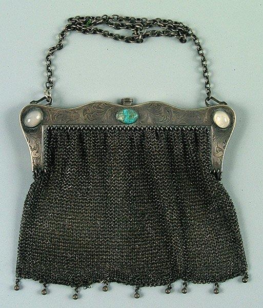 1: Sterling mesh purse, jeweled frame,