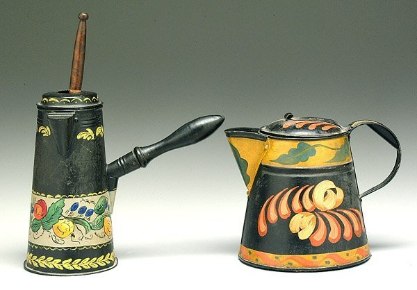3: Two tole-ware pitchers: