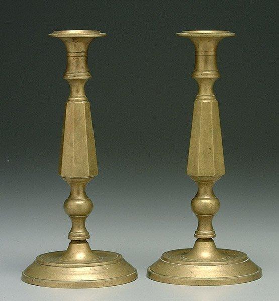 6: Pair 19th century brass candlesticks,