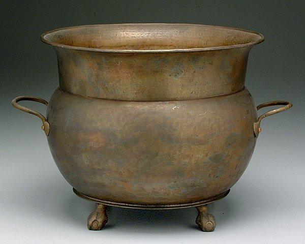 13: Hammered copper planter,