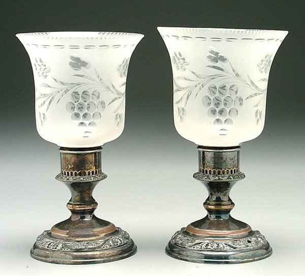 15: Pair silver-plated candlesticks,
