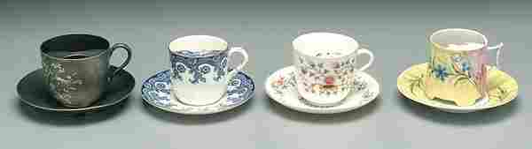 469: Four mustache cups, one silver plated,