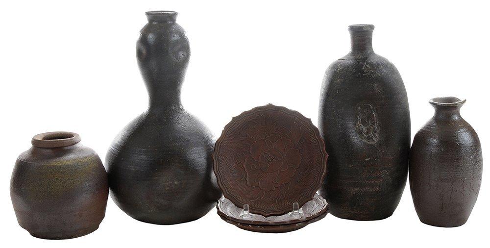 Seven Pieces Old [Bizen] Stoneware