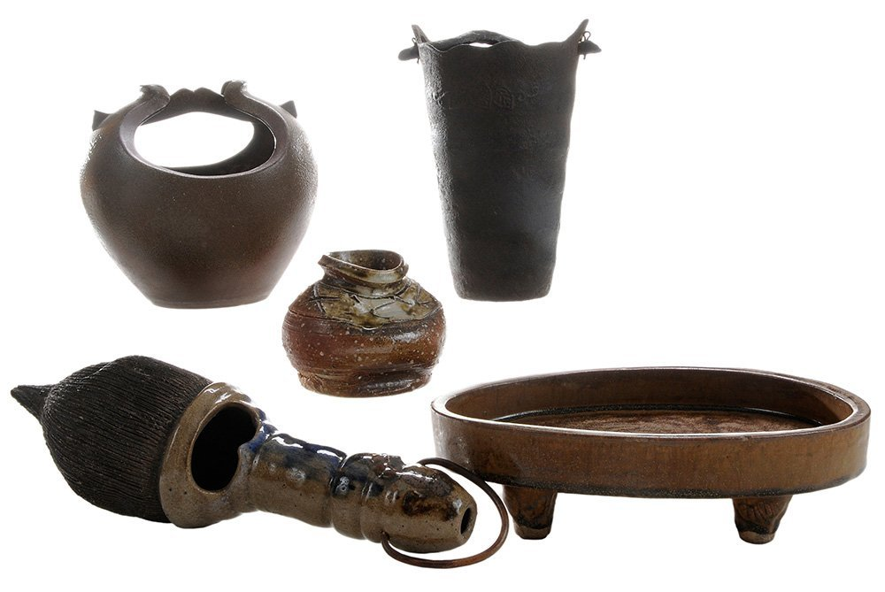 Stoneware and Iron Vases for