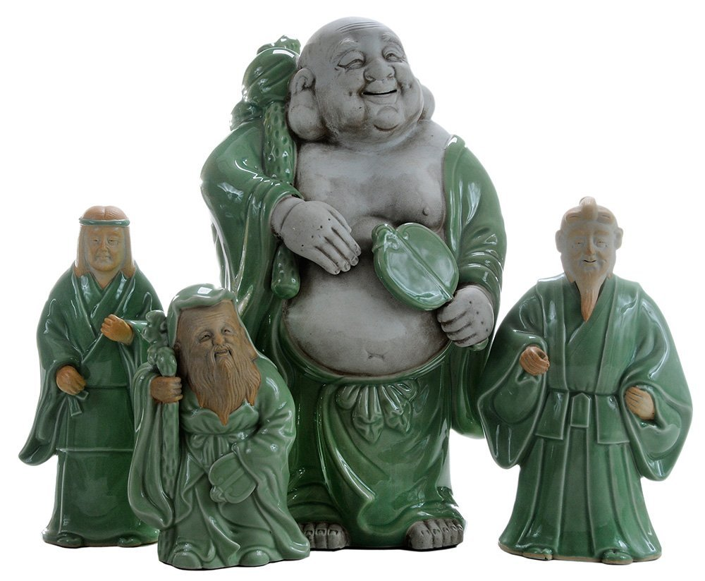 Four [Sanda] Celadon-Glazed Figures