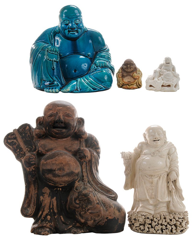Diverse Group of Five Stoneware Hotei