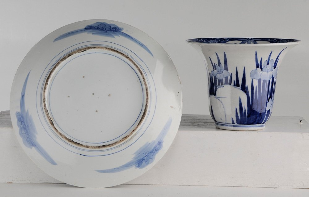 Blue and White Porcelain Charger and - 3