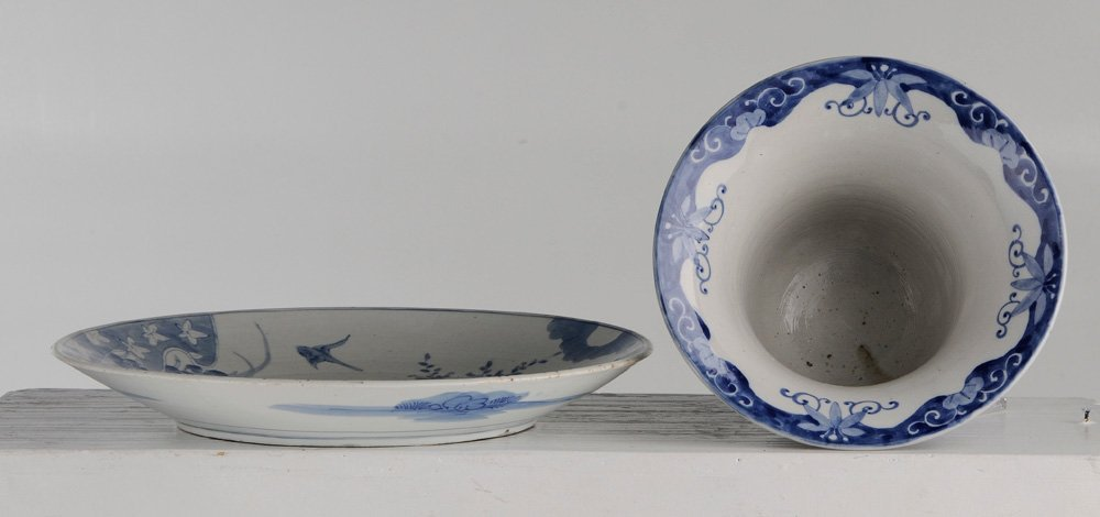 Blue and White Porcelain Charger and - 4