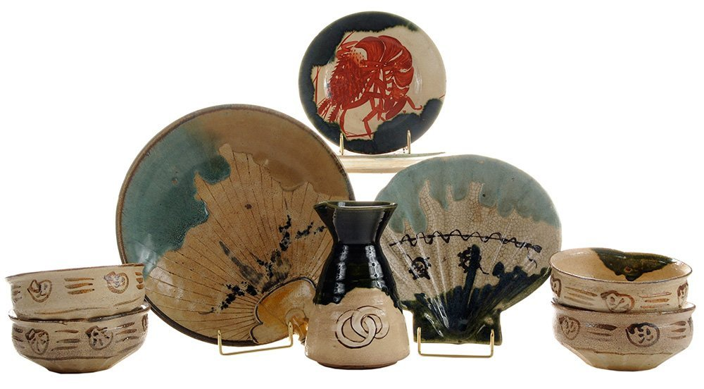 Nine Pieces of [Oribe] Stoneware