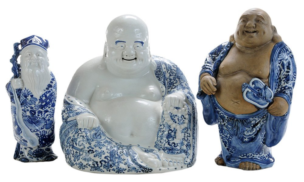 Three Porcelain and Stoneware Blue and