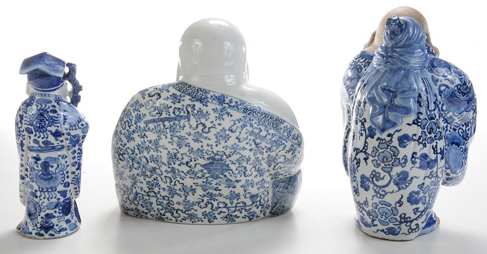Three Porcelain and Stoneware Blue and - 3