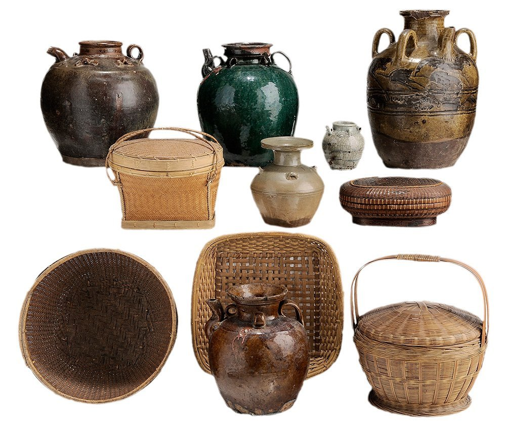 Six Provincial Stoneware Jars and Five