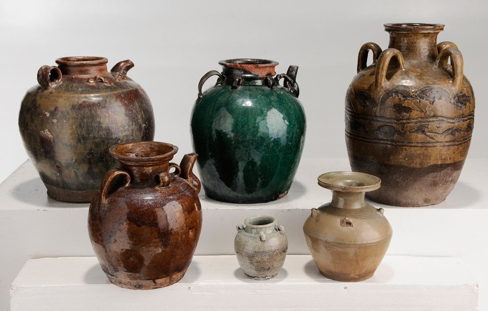 Six Provincial Stoneware Jars and Five - 4
