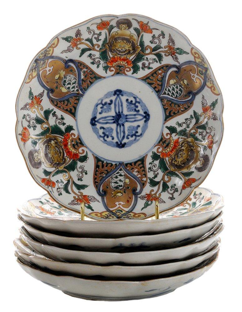 Six Imari Porcelain Deep Plates with