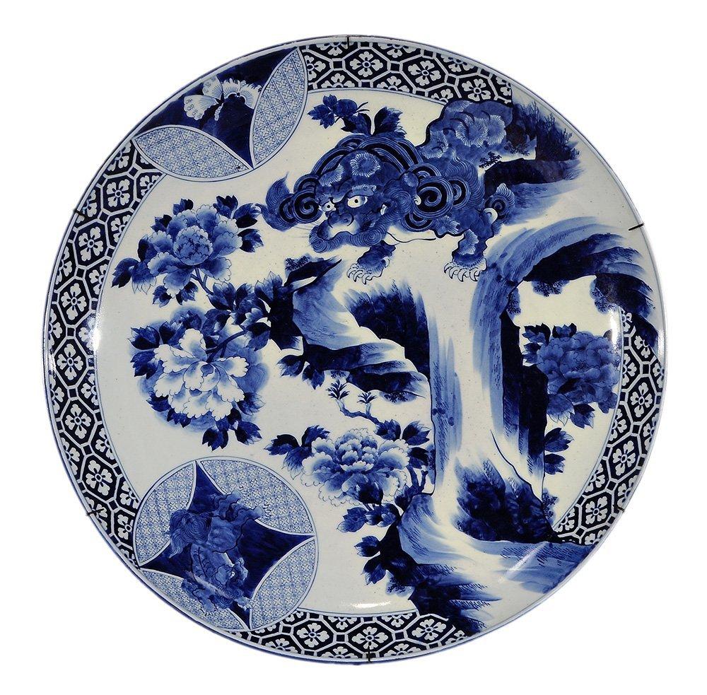 Large Japanese Blue-and-White