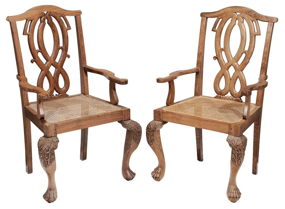 Pair Export Carved Hardwood Open-Arm