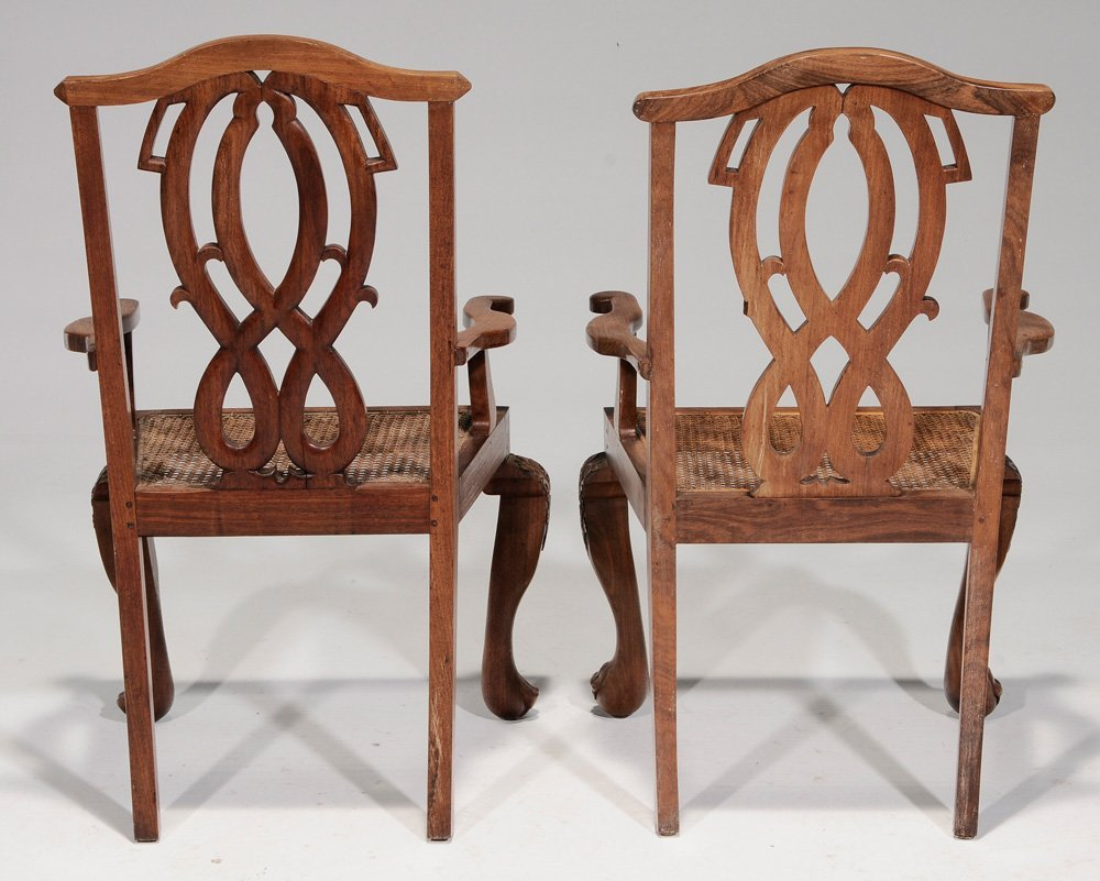 Pair Export Carved Hardwood Open-Arm - 2