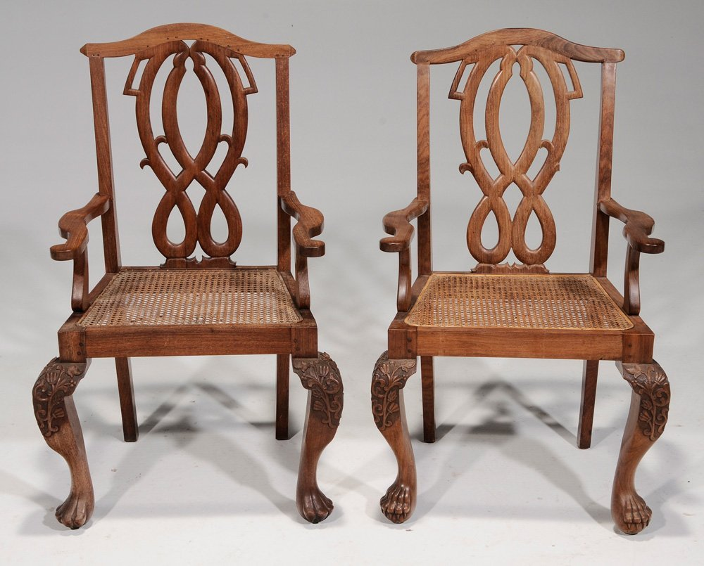 Pair Export Carved Hardwood Open-Arm - 3