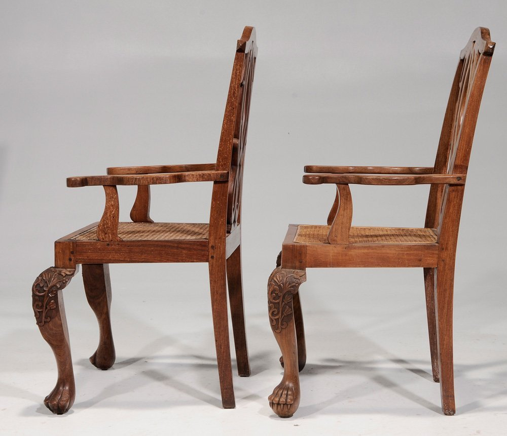 Pair Export Carved Hardwood Open-Arm - 5