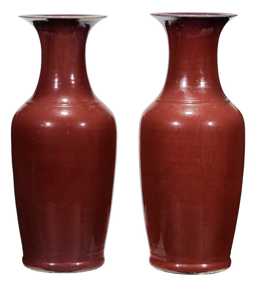 Pair Large Flambé-Glazed Porcelain