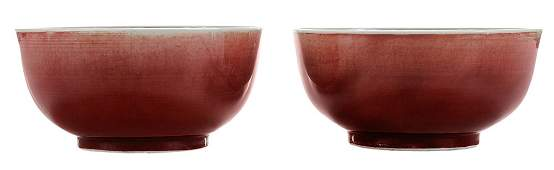 Pair Kangxi Langyao Porcelain Bowls