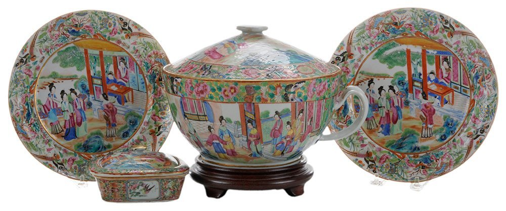 Five Rose Mandarin Porcelain Household