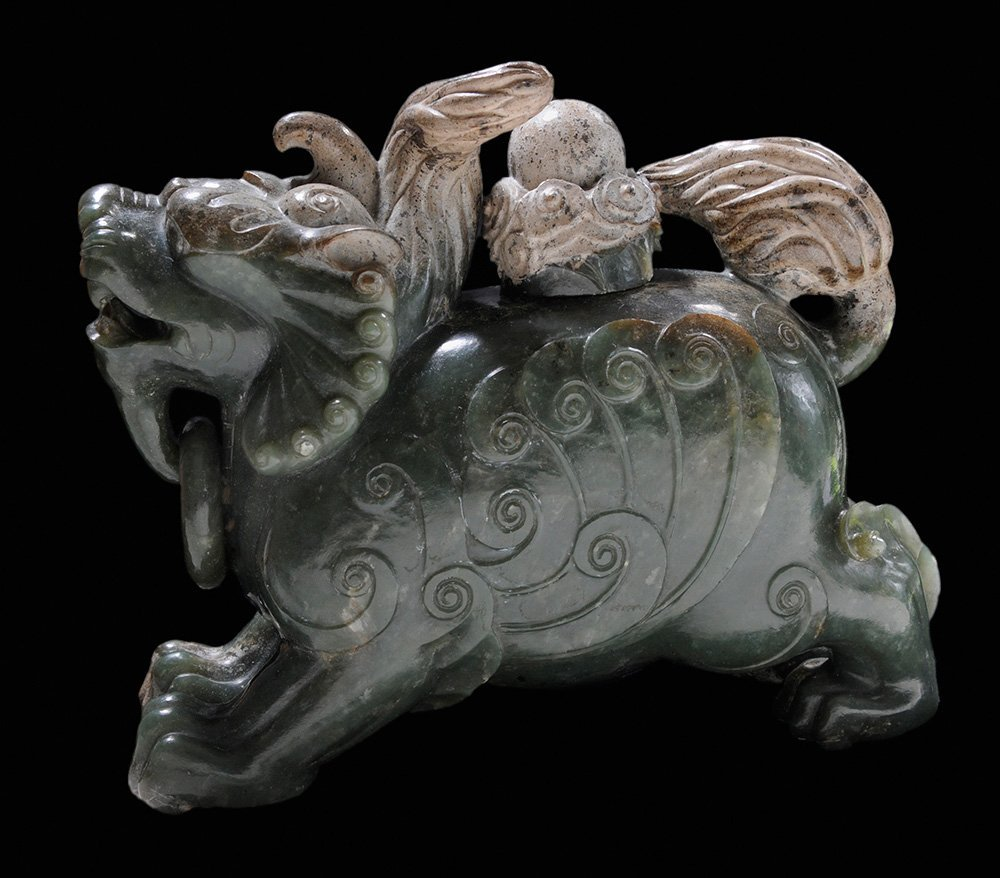 Carved Jade Horned Beast