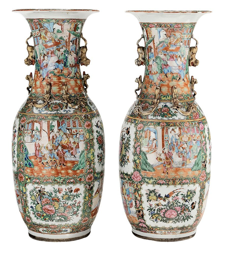 Pair Rose Medallion Floor Vases