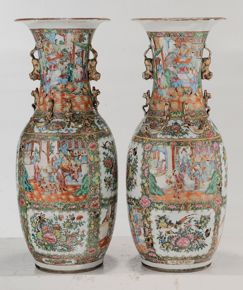 Pair Rose Medallion Floor Vases - 4